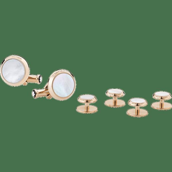 Set-de-mancuernillas-y-botones-para-esmoquin-de-acero-con-acabado-PVD-en-oro-rojo-y-madreperla
