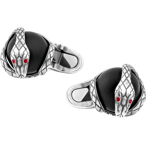 124058---Cufflinks-serpent-design-in-silver-with-onyx-bead_1903442