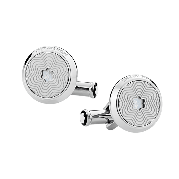 123808---Cufflinks-round-in-stainless-steel-with-exploding-star-pattern-and-mother-of-pearl-snowcap-emblem_1842773