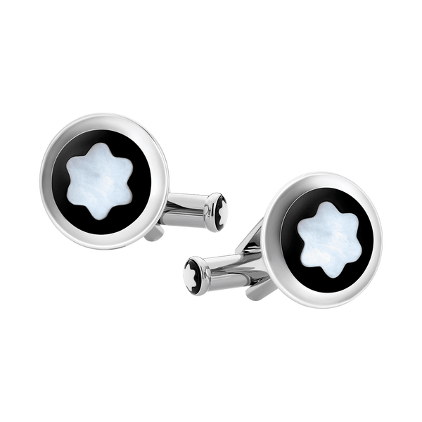 123810---Cufflinks-round-in-stainless-steel-with-black-PVD-inlay-and-mother-of-pearl-snowcap-emblem_1903362